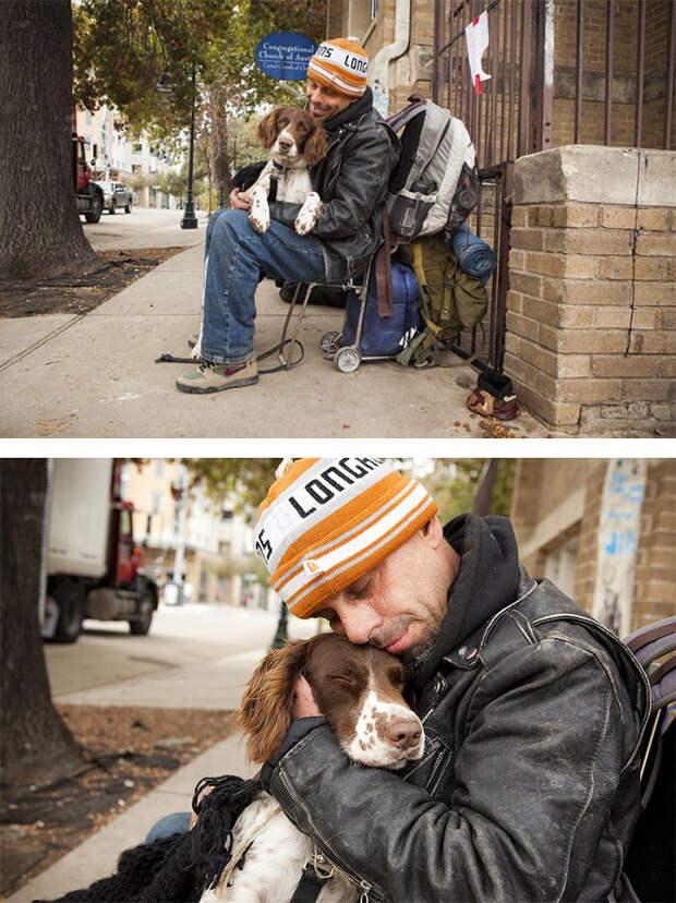 8. Бездомный Чак с любимцем  бездомный, любовь, собака