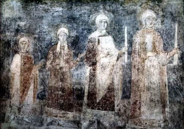 Изображение дочерей Ярослава Мудрого на фреске из Софийского собора в Киеве.jpeg