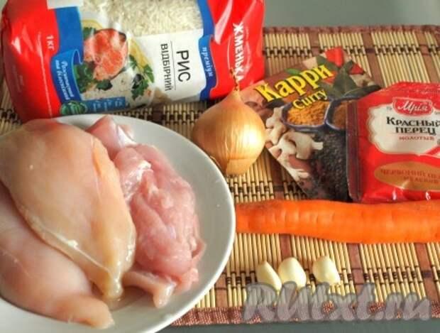 Ингредиенты для приготовления риса с курицей в духовке