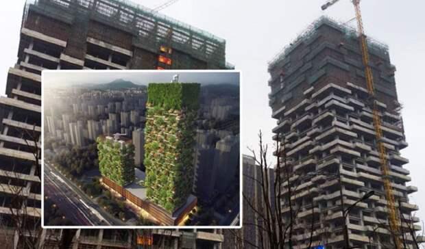 Строительство комплекса из двух небоскребов Vertical Forest в Нанкине планируют закончить уже к концу этого года (Китай). | Фото: thenanjinger.com.