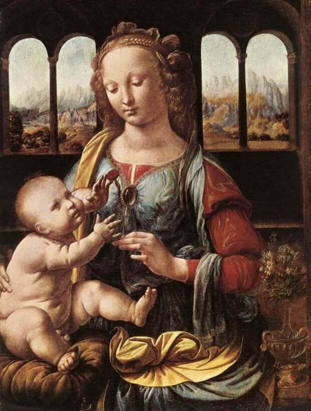 Мадонна с гвоздикой - Леонардо да Винчи (1480)