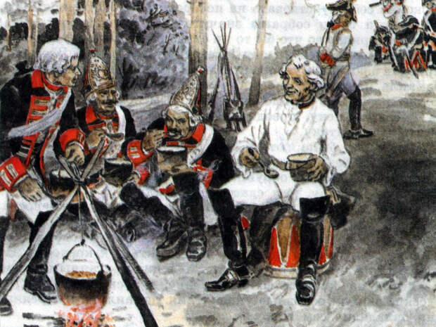 Суворов легко мог отобедать в компании солдат. /Фото: i.pinimg.com