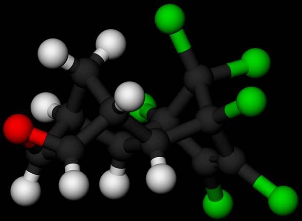 Рисунок 2. Атомная модель молекулы дильдрина Источник «Википедия»