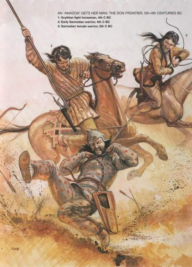 """Пленение """"амазонкой"""" мужчины (пограничье по Дону, IV в. до н.э.): 1 - скифский легкий конник (IV в. до н.э.); 2 - сарматский воин (IV в. до н.э.); 3 - сарматская женщина-воин (IV в. до н.э.)"""