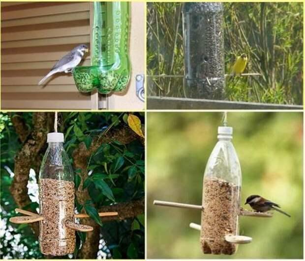 Кормушка для птиц бутылка, пластик