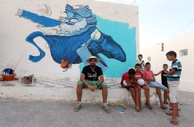 150 уличных художников из 30 стран, превратили старую деревушку Эр-Рияд в Тунисе в настоящую галерею под открытым небом (17)