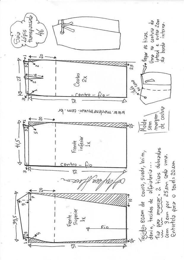 Простая и красивая выкройка деловой юбки (6 размеров)