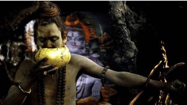 Агхори пьет из человеческого черепа / ©Flickr
