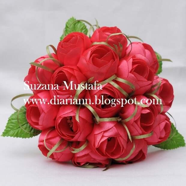 Цветы из шелковых лент от Suzana Mustafa. Идеи и мастер-класс (11) (697x700, 312Kb)
