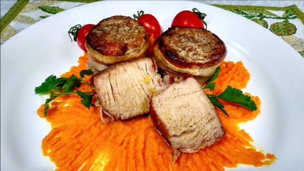 Медальоны в беконе с овощами Медальон, Мясо, Вкусно, Видео, Длиннопост, Рецепт, Еда, Свинина