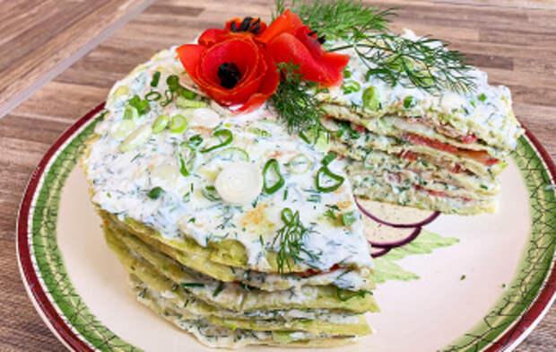 Летний кабачковый торт (Рецепт с помидорами и чесноком)