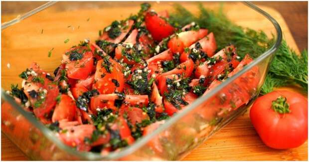 Быстрая пикантная закуска из помидоров — по-корейски