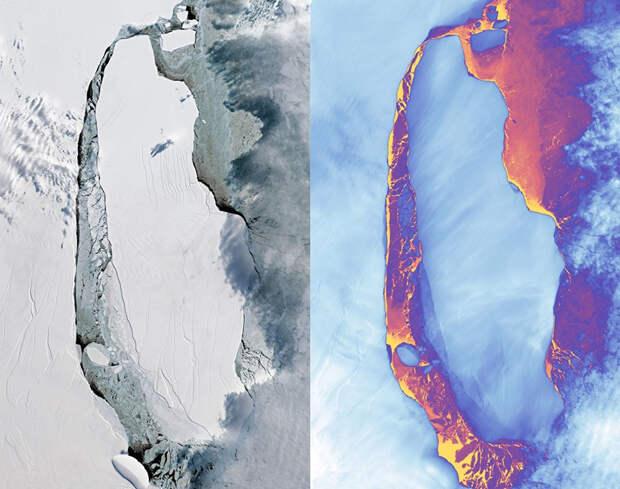 Спутники НАСА наконец получили фото мегаайсберга размером с Эстонию