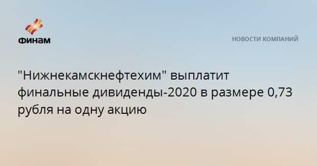 """""""Нижнекамскнефтехим"""" выплатит финальные дивиденды-2020 в размере 0,73 рубля на одну акцию"""