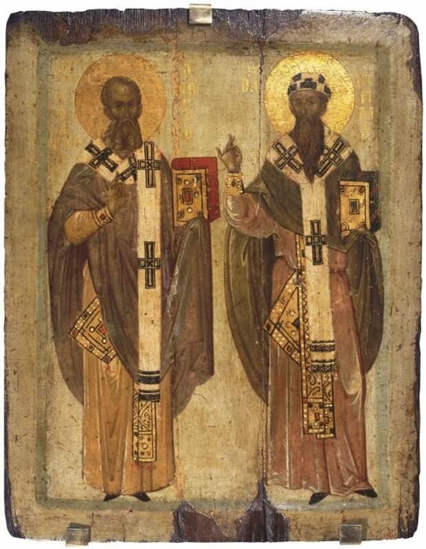 Святые Кирилл и Афанасий, XIV век. \ Фото: metrosantacruz.com.