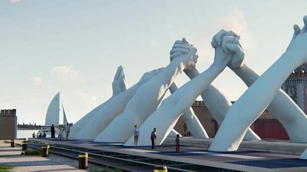 6 фотографий офигенного моста из гигантских рук в Венеции