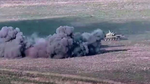 В Сети появилось видео поражения танка Т-72 «Аслан» ВС Азербайджана из ПТРК