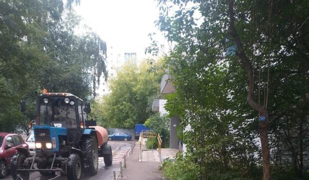 Во дворе дома на Дежнёва обрезали ветви деревьев