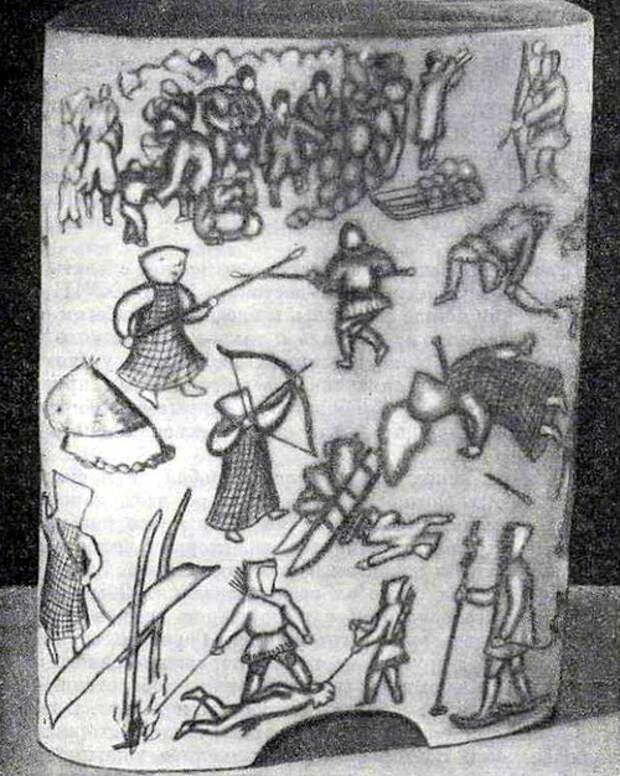 Воины чукчей, гравировка на моржовом бивне - Чукотский Давид против имперского Голиафа | Warspot.ru