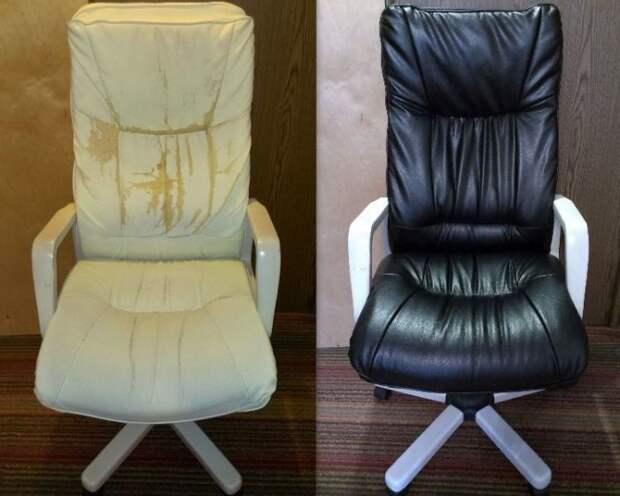 Компьютерное кресло тоже можно привести в порядок. | Фото: дом.globalrecyclingideas.com.