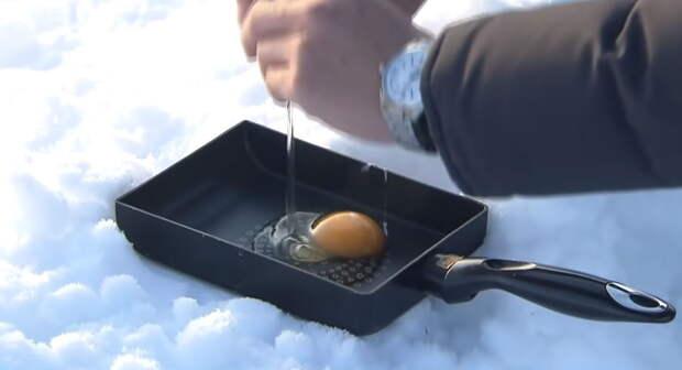 Японцы приготовили «морозную» яичницу
