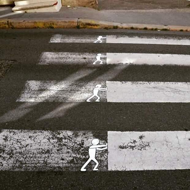 Что лучше: оригинальные стрит-арт зебры или нестареющая классика? зебра, оригинально, пешеходная дорожка, стрит-арт, фото, художник