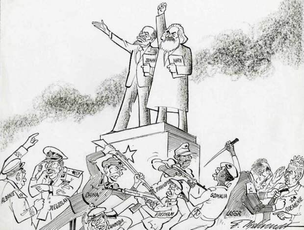 Коммунистическая теория и практика. Показаны конфликты между соцстранами