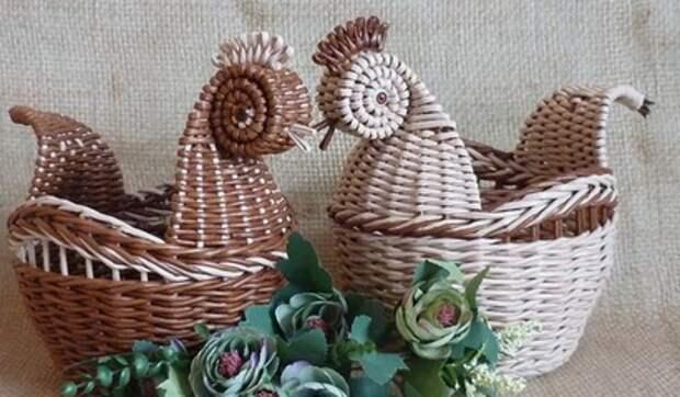 Оригинальные пасхальные корзинки. Идеи для любителей плести из газетных трубочек