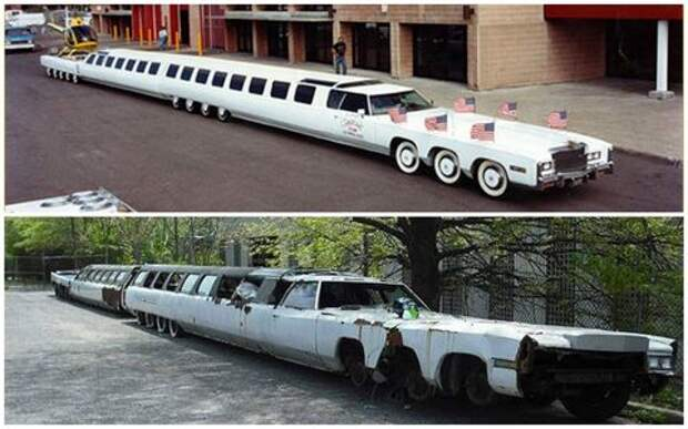 Самый длинный лимузин в мире: 30-метрового монстра бросили на парковке