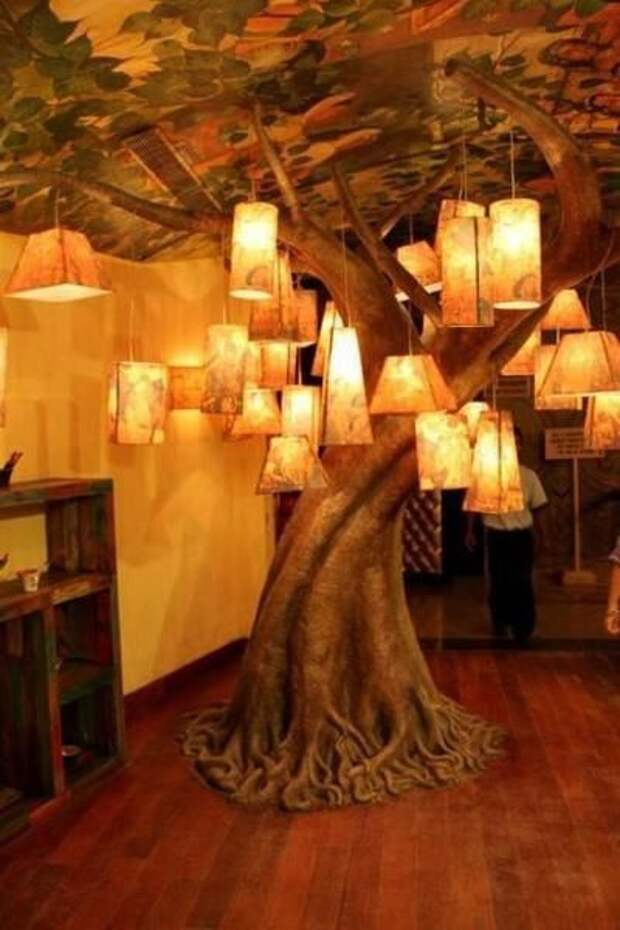 Светильники из палок, коряг и деревяшек