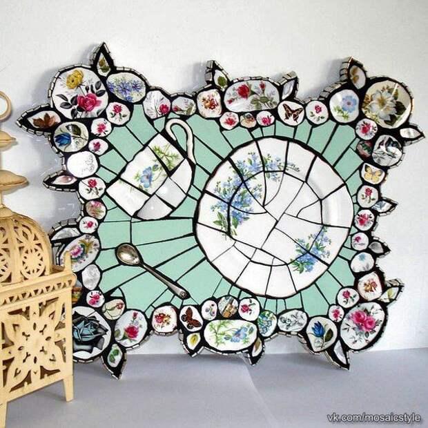 букеты и картины из тарелок битых чашек