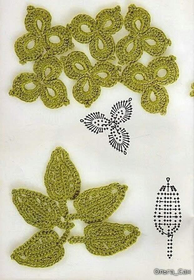 Вязаные цветочные элементы (подборка)
