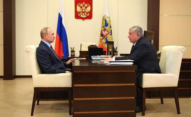 Сечин доложил Путину о работе «Роснефти»