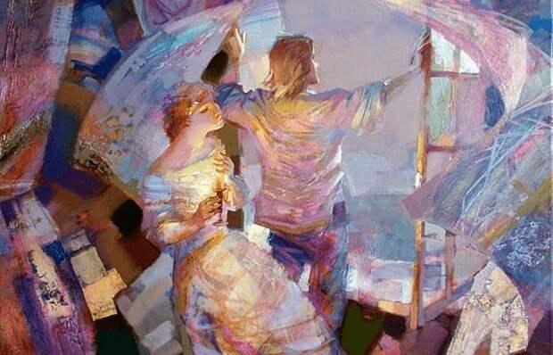 Фантастические цветы и влюблённые парочки на нежных картинах художника - романтика Евгения Кузнецова....