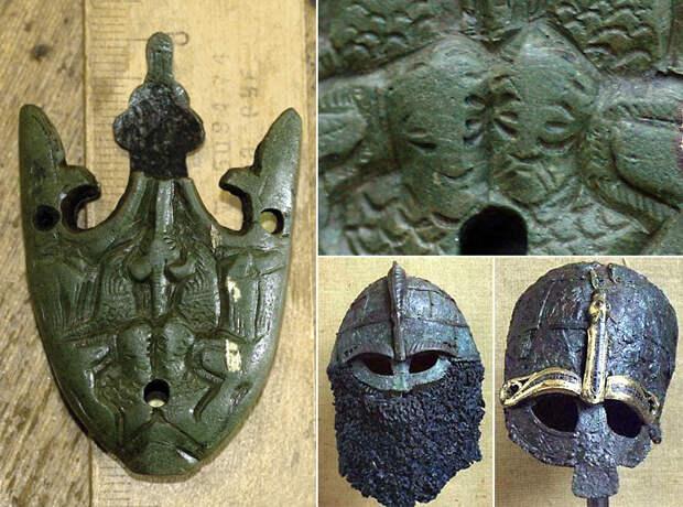 Окончание ножен меча с изображением воинов в шлемах с полумасками, аналогичным шлемам из Вальсгарде (Швеция). Найдено в Украине.
