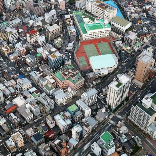9. В Токио с землей дефицит, поэтому на крышах домов можно увидеть спортивные площадки, магазины жилая застройка, каменные джунгли, квартиры, фото, человеческий муравейник