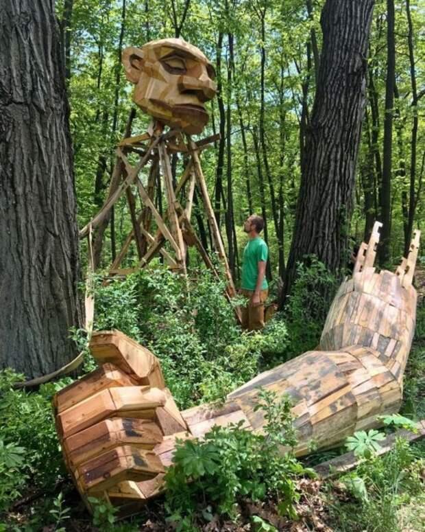 """""""Семь троллей и волшебная башня"""": новые лесные гиганты от Томаса Дамбо в бельгийском лесу"""