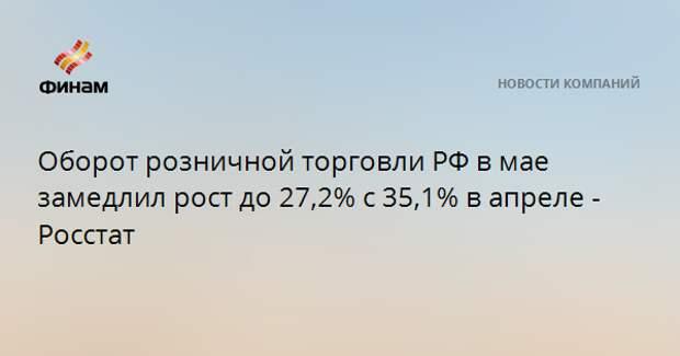 Оборот розничной торговли РФ в мае замедлил рост до 27,2% с 35,1% в апреле - Росстат
