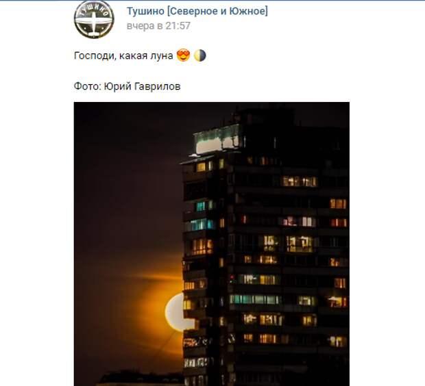 Фото дня: огненная Луна над Тушино