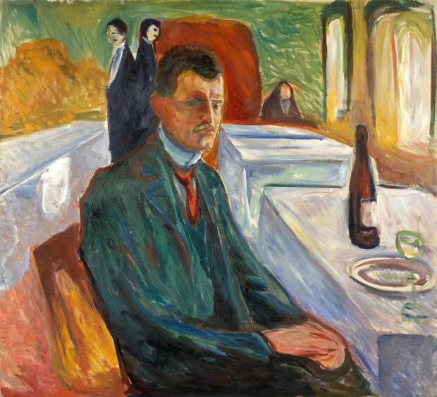 Self-Portrait with a Wine Bottle
