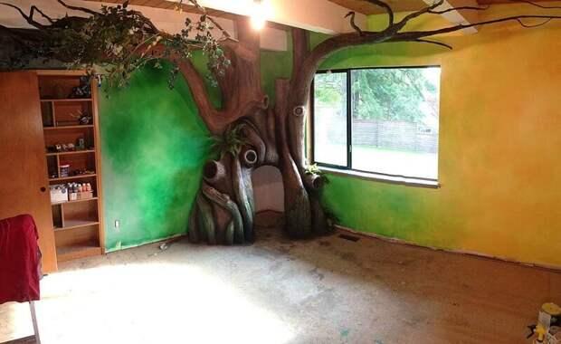 7. Для создания магической атмосферы леса во всей комнате, папа покрасил не только само дерево, но и стены дети, детская, детская комната, дизайн, идеи, ремонт, своими руками, фото