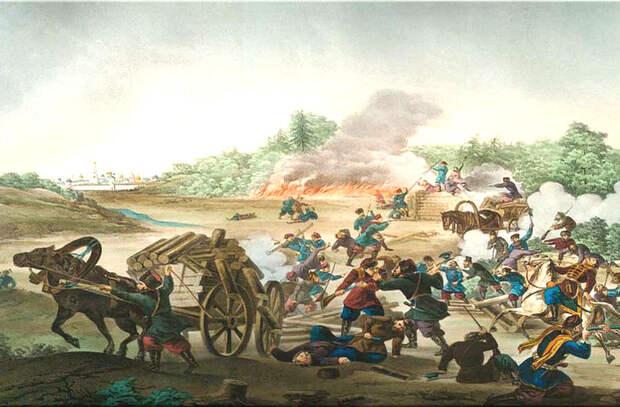 Литография с одним из эпизодов Троицкой осады. <br>