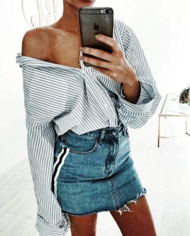 Что носить летом 2018 — модные street-style образы с джинсовой юбкой