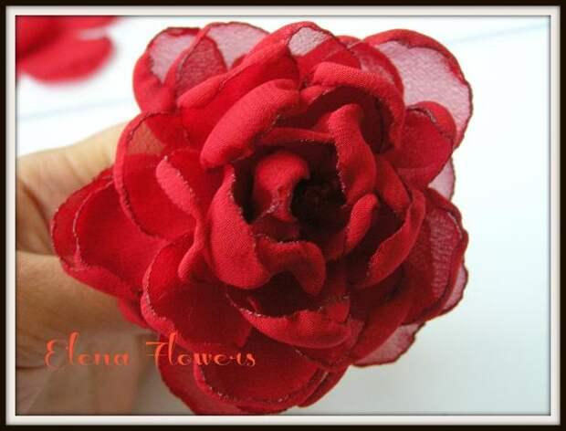 Роза из шифона