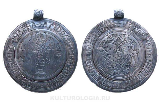 Серебряный змеевик с изображением Архангела Михаила, XII век.