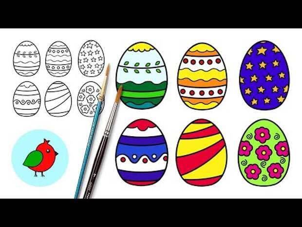 Как нарисовать Пасхальные яйца просто l Рисунки на Пасху l Раскраска Пас...