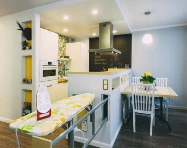Творческие идеи хранения гладильной доски в небольшой квартире