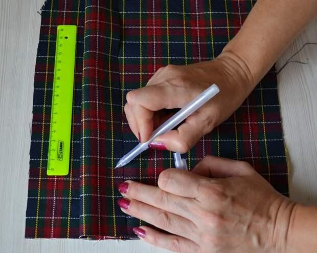 Обработка внутреннего бокового кармана платья, шаг 3