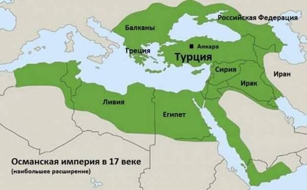 Границы Османской империи на современной политической карте