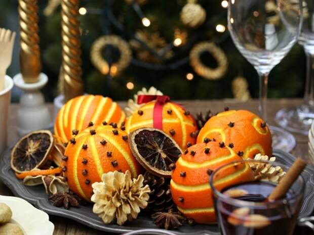 Новогодний декор из апельсинов и мандаринов